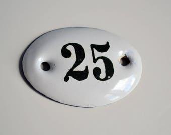 25 Enamel House Number Vintage Door Number 25 Retro Enamel House Plate French Style House Number Enamelware For Industrial Home Decor