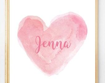 Baby Nursery Print, Pink Nursery Print, Pink Watercolor, Pink Nursery Art, Personalized 8x10 Print, Baby Girl Nursery, Watercolor, Baby Gift