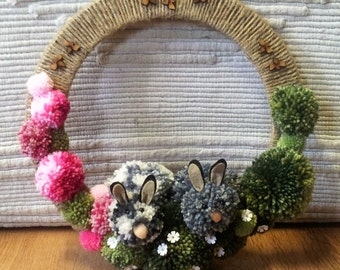 Spring wreath, bunnies, bees and daisies, pink and green wreath, Spring wreath, alternative wreath, 100% hand made