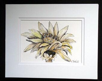 Sunflowers - Original Watercolor and Pen and Ink, Flower, Flower Art, Home decor, Wall Art, Floral Art, Original Art, Watercolor Painting