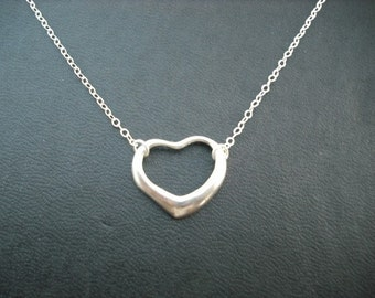 floating heart necklace - sterling silver