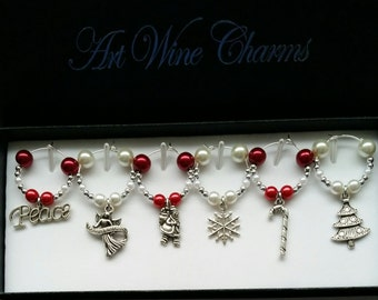 6 Red and White Holiday themed Wine Charms, Christmas, Holidays, Hostess Gift, Gift