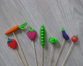 Decorative pins for garden fruits or vegetables in fimo (sold individually or as a set)