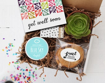Get Well Soon Gift Box - Get Well Gift | Get Well Card | Succulent Gift | Thinking of you Gift