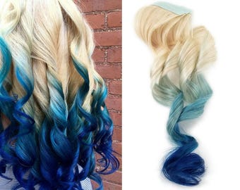 Tape in Remy Indigo Blue Ombre Human Hair Extensions 613 Blonde Root Blue Mermaid Colormelt