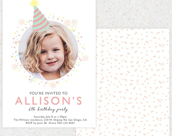 INSTANT DOWNLOAD-- Birthday Invitation Photoshop Card Template--b104