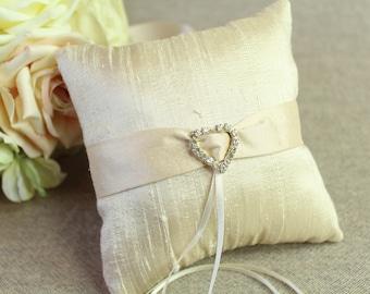 Silk Petite Wedding Ring Pillow, Pet Collar Ring Pillow with Diamante Button, Dog Collar Ring Pillow