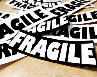 FRAGiLE & Handle with Care TAGS Stickers Packaging Shipping Black and White