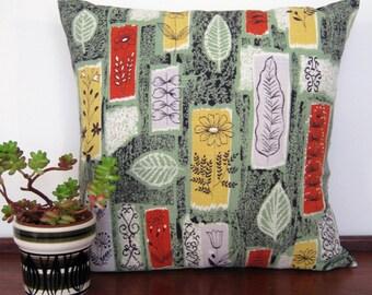 Vintage 50s Pillow Cushion Cover - Barkcloth Botanic Design