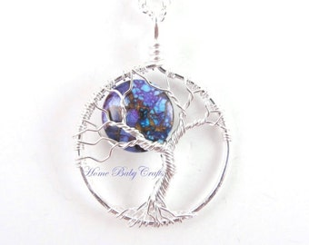 Watch Over Me Moon- Mini Tree of Life Necklace with Purple Turquoise, Silver, Protection Necklace