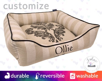 Black & Linen Natural French Dog Bed or Cat Bed | Linen Black Dog Bedding | Bailey, Canopy, Stripe | Design Your Own