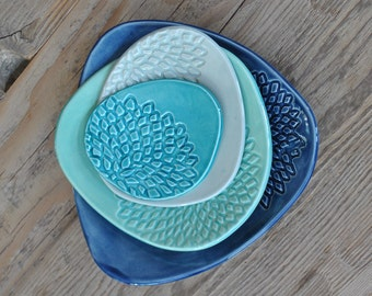 Set of 4 -Turquoise / Blue Ceramic Plate Set Stamped Handmade Side Platters, Serving Dishes, Pottery Tapa plates