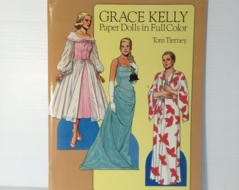 GRACE KELLY paper dolls, vintage paper doll, Tom Tierney paper dolls, SIGNED paper dolls, fashion designer paper doll, uncut paper dolls