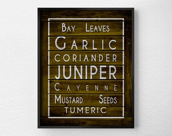 Spices Kitchen Print, Kitchen Wall Decor, Kitchen Wall Art, Typography Poster, Spices Print, Kitchen Quote Art, Restaurant Art, 0310