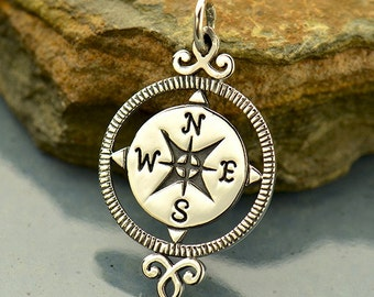 Sterling Silver, Compass Pendant, Silver Compass, Compass Charm, Ornate Compass, Silver Compass Charm, Compass Jewelry, Travel Charm
