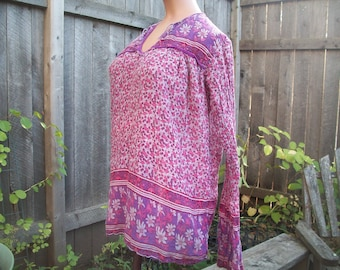 Vintage, butter soft, India cotton tunic, block print,gypsy, hippy, festival