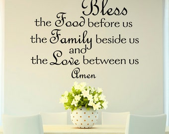 Bless The Food Before Us Wall Decal Quote Prayer Stickers Vinyl Sayings Dining Room Art
