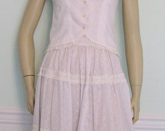 1970s Skirt and Top Eyelet White Corset Type  BoHo Festival