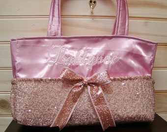 Diaper bag Purse..Rose Gold Sequins N Rose Satin..With Name and Bow. Choose end pockets.