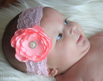 Your choice of color - Flower lace headband