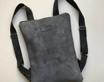 Gray Suede Backpack, Leather Backpack, Minimalist Backpack, Leather Rucksack