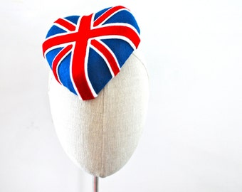 Union Jack Heart Cocktail Hat Fascinator Mini Hat Flag Hat UK GB
