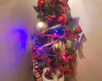 Christmas tree headpiece headdress light up Santa grinch baubles tinsel presents gift sparkle winters festive