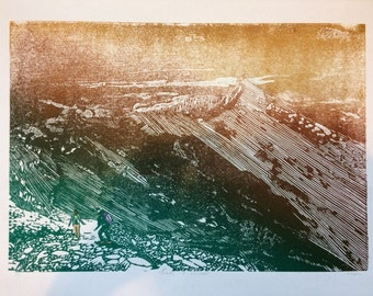 Snowdon landscape art, Snowdon wall art print, Snowdon Horseshoe  Y Lliwedd mountain art print no. 5 - Wales landscape art