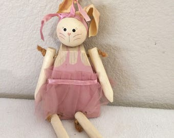 """Vintage Hand Made Wood Bunny By Claudette Signed Ballerina  9"""""""