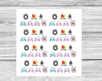 Kawaii Car Maintenance // Planner Stickers