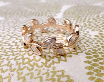 Diamond marquis ring. Eternity leaf ring with marquis diamonds. 14k rose gold leaf ring.