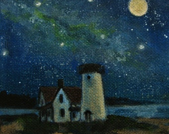 "Cape Cod Lighthouse Moon Night Stars Original signed Acrylic Painting square 4""x 4""x 1.5"""