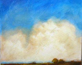 Abstract landscape painting, big sky with large, heavy clouds.