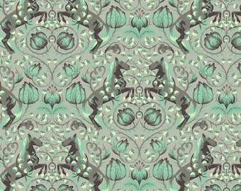 Pony Play Fox Field by Tula Pink - Green Shade PWTP046 - 1/2 yard cotton quilt fabric 516