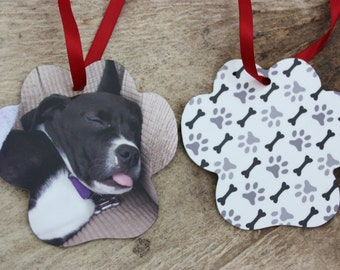 Dog Paw Photo Ornament-Christmas Ornament-Tree Trimmings-Animal Lover-Photo Gift