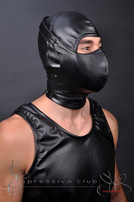 Leather fetish hoods