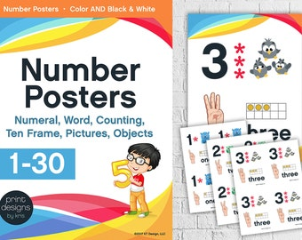 Teaching Poster - Number Poster - Kindergarten Counting Poster - Numbers 1-30 Posters - Classroom Posters - Teacher Supplies - DIGITAL ITEM