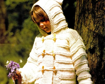 "Knitting Pattern - Boys & Girls / Child's 70s ""DUFFLE"" Coat - PDF Pattern - UK"