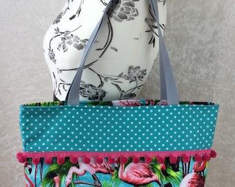 Handmade Beach tote shoulder bag Pom Pom shopping day bag purse fabric shopper  Flamingos