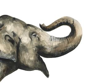 Elephant watercolor print, Elephant watercolor painting, Elephant art print, Elephant art, Elephant print