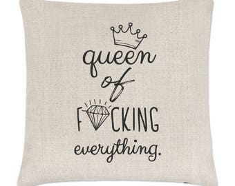 Diamond Queen Of F-king Everything Linen Cushion Cover
