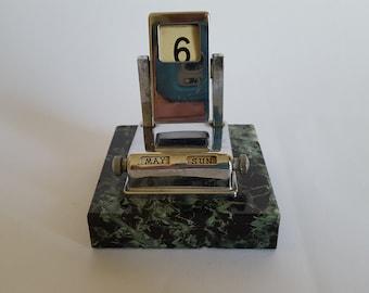 NEW LISTING Stylish Original Art Deco Chrome Perpetual Desk Calendar with Marble Base