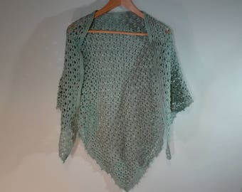 large triangle crochet shawl, crochet scarf, grey-green crochet wrap