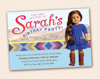 Girl Doll Party Invitation  Custom Dolls Available