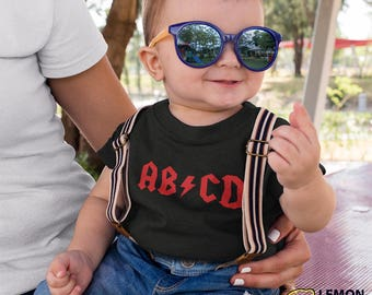 AB CD Rock n Roll Black Baby T-shirt,  Rockstar Baby shirt,, Rock & Roll ACDC Kid Gift