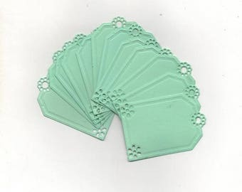 6 small American labels small green tag