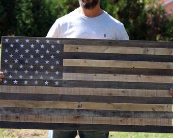 """Reclaimed pallet American flag hanging wall art home decor 42"""" wide x 22"""" tall natural"""