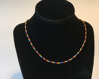 Rainbow Necklace, Beaded Choker, Seed Bead Choker, Choker Necklace Seed Bead Necklace, Summer Necklace, Wholesale Necklace, Mothers day