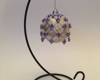 Christmas Tree Decoration / Hand Beaded Purple and Pearlescent Christmas Ornament Cover