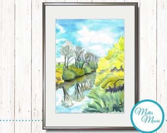 """Watercolor """"Spring on the river"""" original painting"""